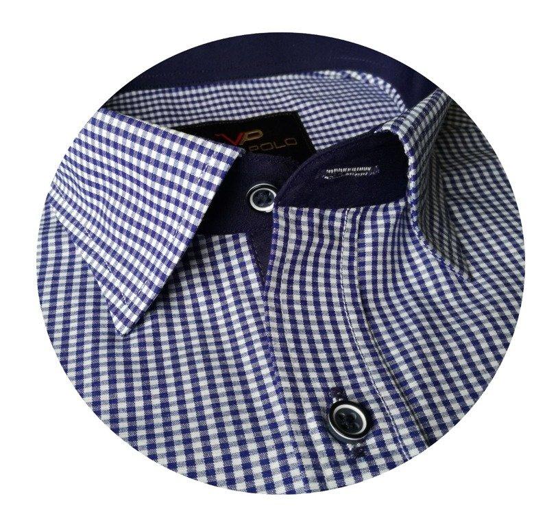 Biała koszula męska w drobną kratkę i kropki A23 | Sklep